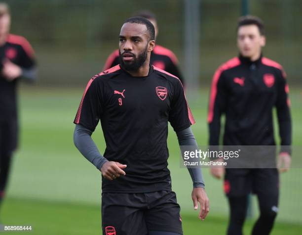 Alex Lacazette of Arsenal during a training session at London Colney on November 1 2017 in St Albans England