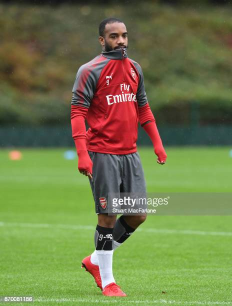 Alex Lacazette of Arsenal during a training session at London Colney on November 4 2017 in St Albans England