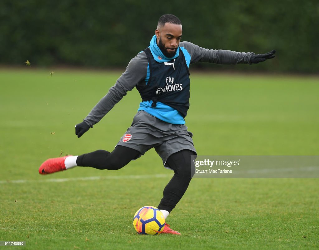 Alex Lacazette of Arsenal during a training session at London Colney on January 29, 2018 in St Albans, England.