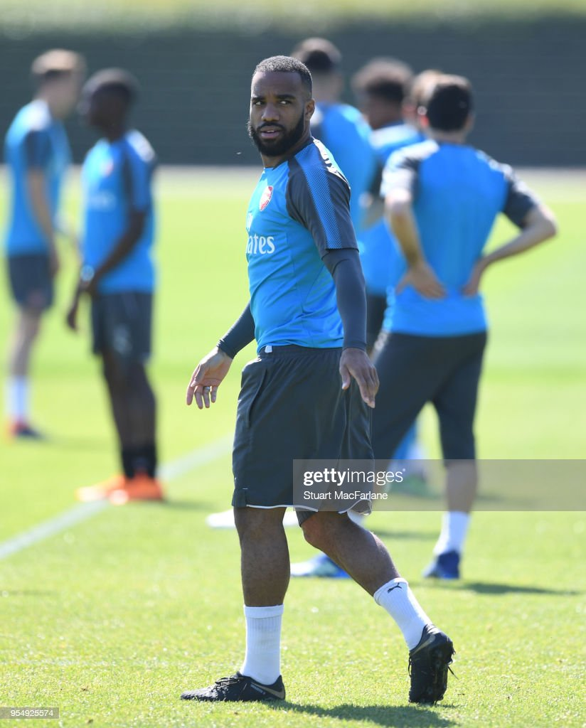 Alex Lacazette of Arsenal during a training session at London Colney on May 5, 2018 in St Albans, England.