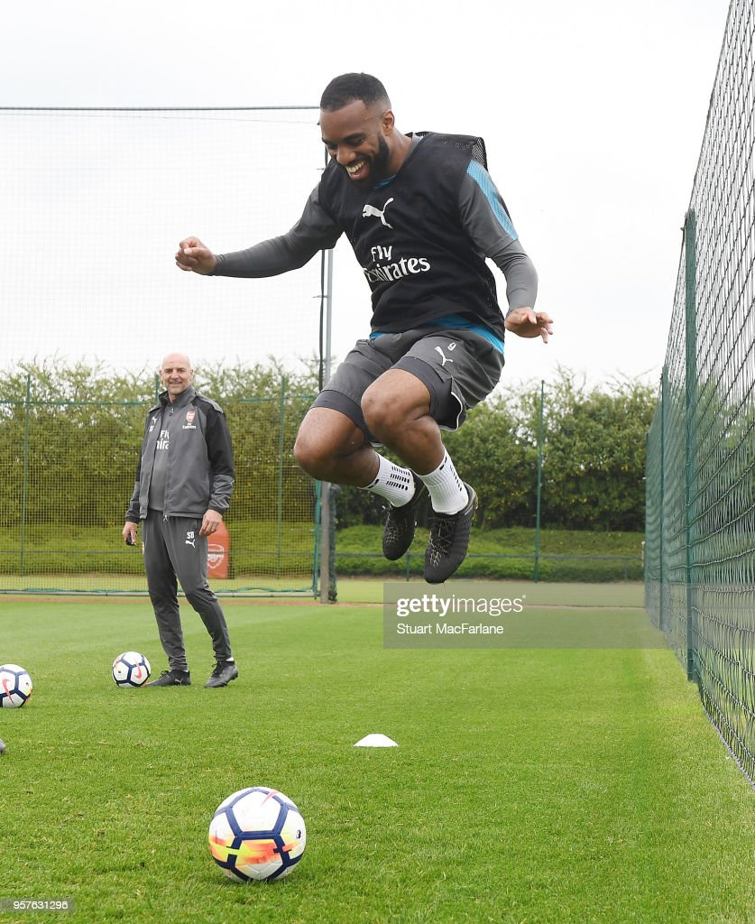 Alex Lacazette of Arsenal during a training session at London Colney on May 12, 2018 in St Albans, England.