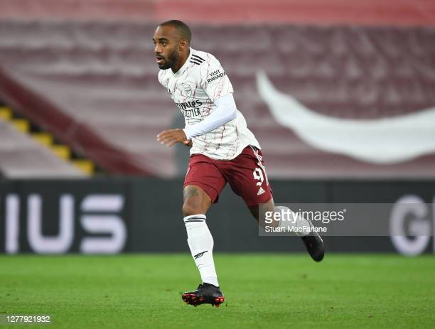 Alex Lacazette of Arsenal during the Carabao Cup fourth round match between Liverpool and Arsenal at Anfield on October 01 2020 in Liverpool England...