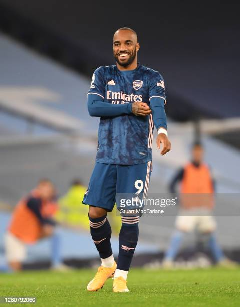 Alex Lacazette of Arsenal during the Premier League match between Manchester City and Arsenal at Etihad Stadium on October 17 2020 in Manchester...