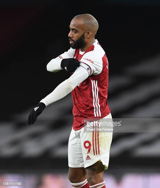 Alex Lacazette of Arsenal during the Premier League match between Arsenal and Newcastle United at Emirates Stadium on January 18, 2021 in London,...