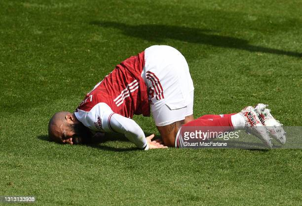 Alex Lacazette of Arsenal during the Premier League match between Arsenal and Fulham at Emirates Stadium on April 18, 2021 in London, England....