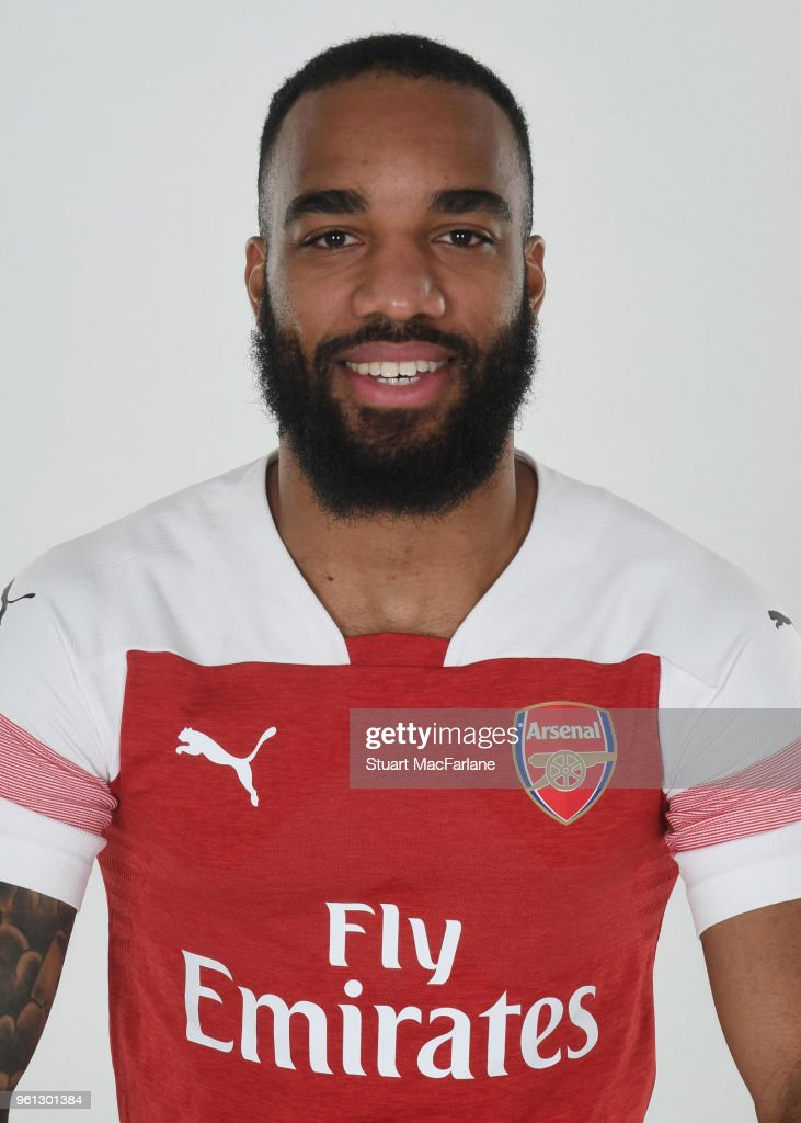 Alex Lacazette of Arsenal in the new home kit for season 2018-19 on March 16, 2018 in St Albans, England.