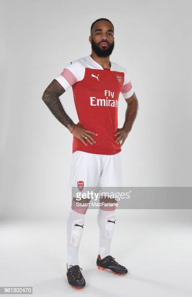 Alex Lacazette of Arsenal in the new home kit for season 201819 on March 16 2018 in St Albans England