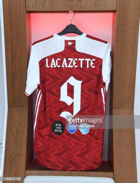 Alex Lacazette shirt in the Arsenal changing room before the FA Cup Final match between Arsenal and Chelsea at Wembley Stadium on August 01 2020 in...