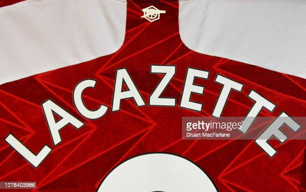 Alex Lacazette's Arsenal shirt in the home changing room before the Premier League match between Arsenal and Sheffield United at Emirates Stadium on...