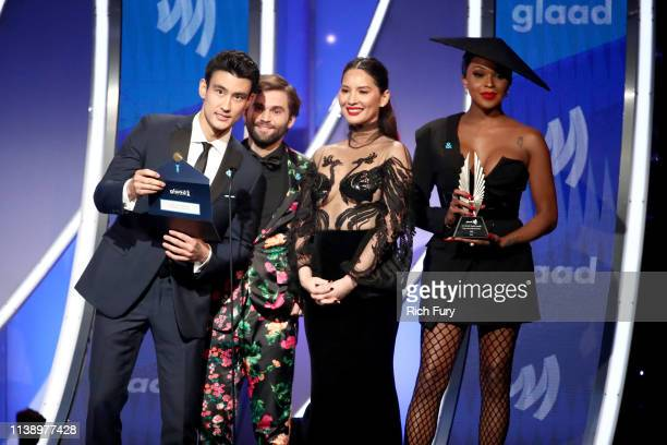 Alex Landi Jake Borelli Olivia Munn and Amiyah Scott speak onstage during the 30th Annual GLAAD Media Awards Los Angeles at The Beverly Hilton Hotel...