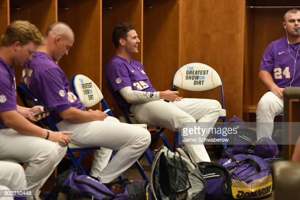 Alex Lange of Louisiana State University laughs in the locker room before his team takes on the University of Florida during the Division I Men's...