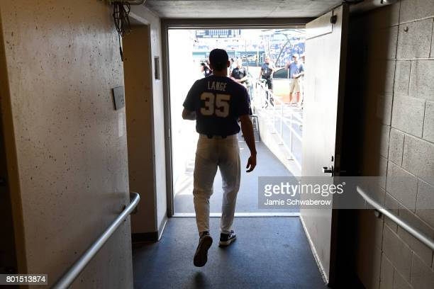 Alex Lange of Louisiana State University walks onto the field as his team takes on the University of Florida during the Division I Men's Baseball...