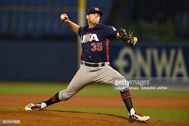Alex Lange of the USA throws a pitch in the bottom of fifth inning on the day 3 match between Japan and USA during the 40th USAJapan International...