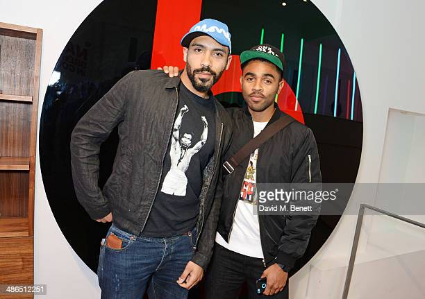 Alex Lanipekun and Anthony Welsh attend the Beats by Dr Dre Drenched in Colour nail event on April 24 2014 in London England