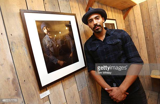 Alex Lanipekun attends a private view of FH Faces a series of portraits by photographer Gary Wallis presented by Flying Horse Indigo Goods at Flying...