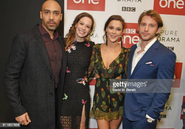 Alex Lanipekun Chloe Pirrie Bella Dayne and Louis Hunter attend an exclusive preview screening of new BBC One drama 'Troy Fall Of A City' at BFI...