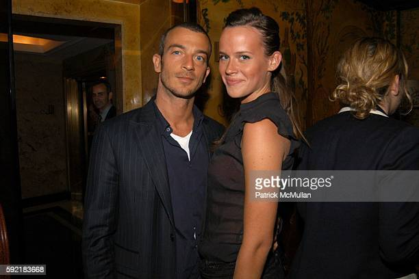 Alex Lasky and Nicole Nadu attend Derek Anderson and Victor Kubicek Supper for Stevie Wonder and Kai Milla at The Carlyle on September 11 2005 in New...