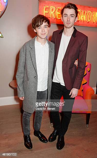 Alex Lawther and Matthew Beard attend a special screening of The Imitation Game followed by a QA hosted by Stephen Fry at The Ham Yard Hotel on...