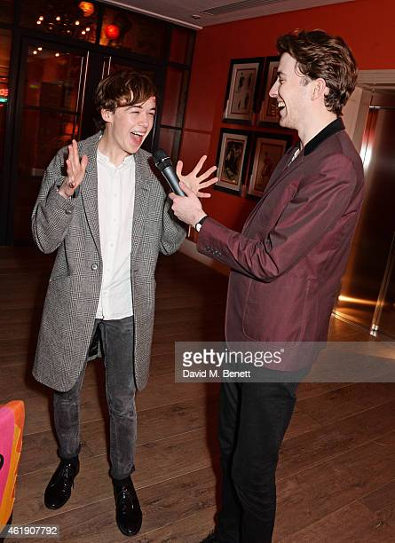 Alex Lawther and Matthew Beard attend a special screening of 'The Imitation Game' followed by a QA hosted by Stephen Fry at The Ham Yard Hotel on...