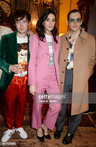 Alex Lawther Gala Gordon and James Righton attend a dinner hosted by Gucci to celebrate #GucciHallucination A Limited Line featuring artworks by...
