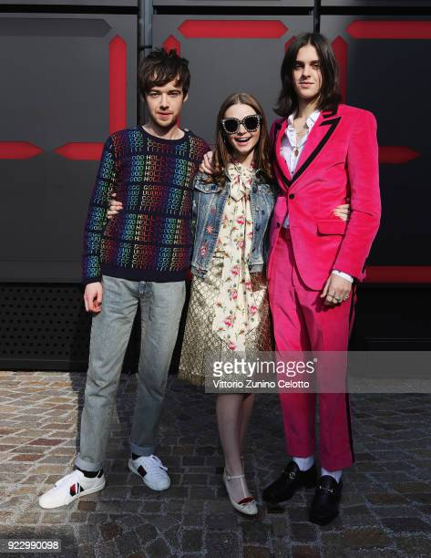 Alex Lawther Jessica Barden and Earl Cave arrive at the Gucci show during Milan Fashion Week Fall/Winter 2018/19 on February 21 2018 in Milan Italy