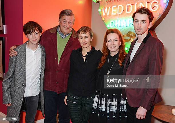 Alex Lawther Stephen Fry set decorator Tatiana Macdonald costume designer Sammy Sheldon Differ and Matthew Beard attend a special screening of 'The...