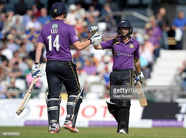 Alex Lees and Adam Lyth of Yorkshire Vikings react during the Royal London OneDay Cup Semi Final between Yorkshire Vikings and Gloucestershire at...