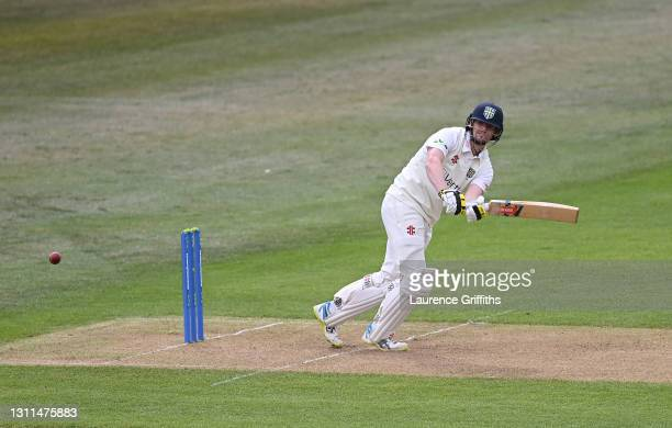 Alex Lees of Durham hits out to the boundary during the LV Insurance County Championship match between Nottinghamshire and Durham at Trent Bridge on...