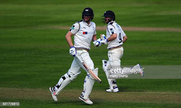 Alex Lees of Yorkshire and Adam Lyth of Yorkshire during Day Two of the Specsavers County Championship Division One match between Somerset and...