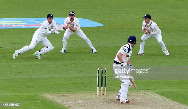 Alex Lees of Yorkshire is caught out by Phil Mustard of Durham during the LV County Championship match between Durham CCC and Yorkshire CCC at The...