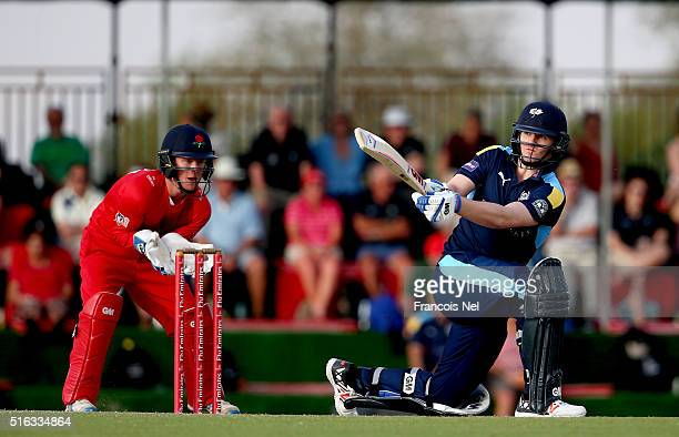Alex Lees of Yorkshire Vikings bats during the Emirates Airline T20 Cup Final match between Lancashire Lightning and Yorkshire Vikings at the Sevens...