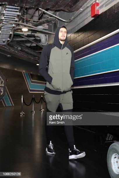 Alex Len of the Atlanta Hawks arrives before the game against the Charlotte Hornets on November 28 2018 at the Spectrum Center in Charlotte North...