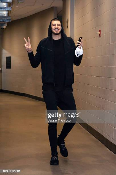 Alex Len of the Atlanta Hawks arrives before the game against the Charlotte Hornets on February 9 2019 at State Farm Arena in Atlanta Georgia NOTE TO...
