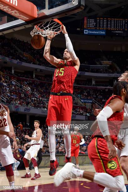 Alex Len of the Atlanta Hawks dunks the ball against the Cleveland Cavaliers on October 30 2018 at Quicken Loans Arena in Cleveland Ohio NOTE TO USER...