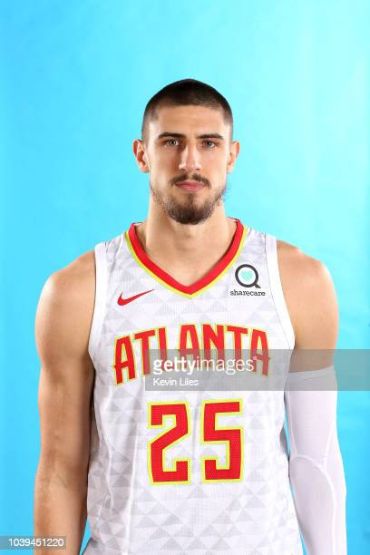 Alex Len of the Atlanta Hawks poses for a head shot during the Atlanta Hawks Media Day on September 24 2018 at the Emory Sports Medicine Complex in...