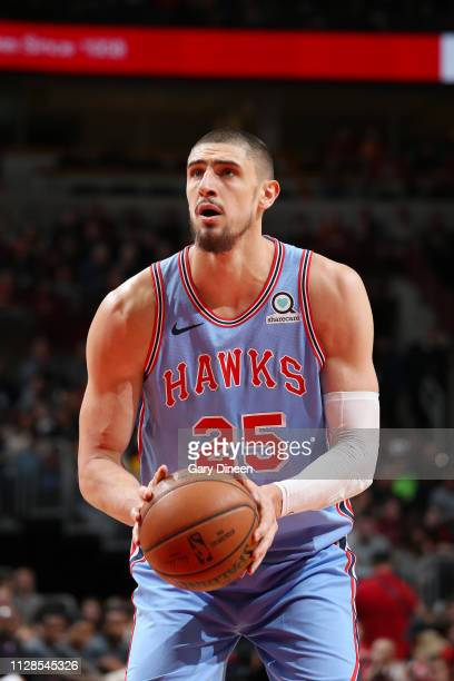 Alex Len of the Atlanta Hawks shoots a free throw during the game against the Chicago Bulls on March 3 2019 at the United Center in Chicago Illinois...