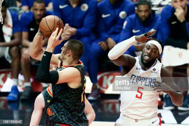 Alex Len of the Atlanta Hawks shoots the ball against the LA Clippers on January 28 2019 at STAPLES Center in Los Angeles California NOTE TO USER...