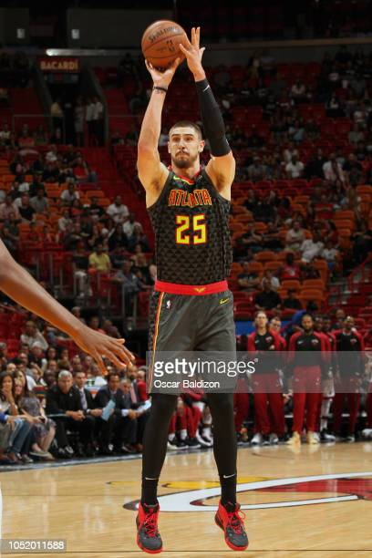 Alex Len of the Atlanta Hawks shoots the ball against the Miami Heat on October 12 2018 at American Airlines Arena in Miami Florida NOTE TO USER User...