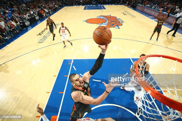 Alex Len of the Atlanta Hawks shoots the ball against the New York Knicks during the game on October 17 2018 at Madison Square Garden in New York...
