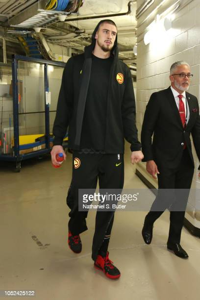 Alex Len of the Atlanta Hawks walks the tunnel prior to the game against the New York Knicks during the game on October 17 2018 at Madison Square...