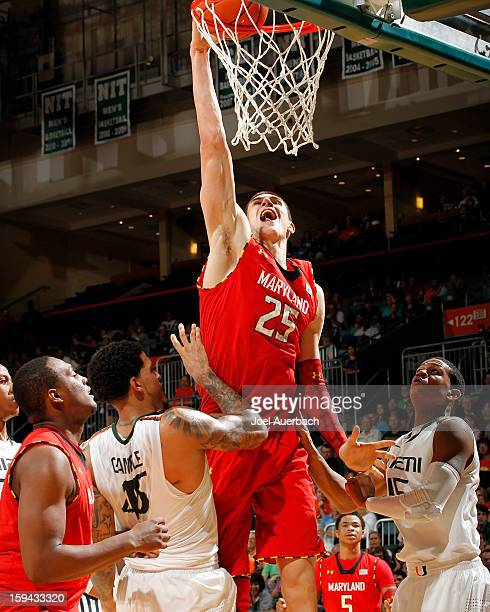 Alex Len of the Maryland Terrapins scores against the Miami Hurricanes in second half action on January 13, 2013 at the BankUnited Center in Coral...