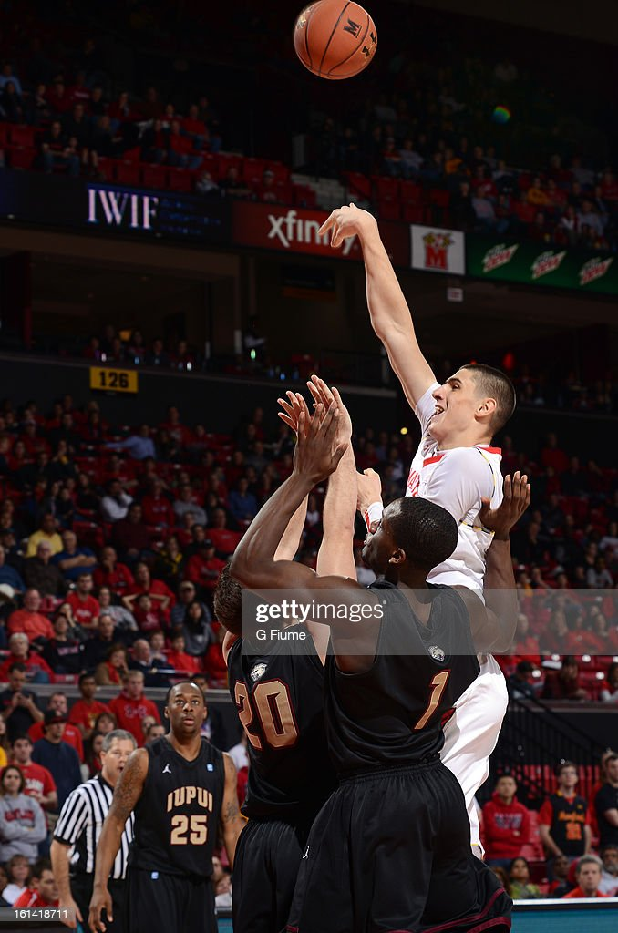Alex Len #25 of the Maryland Terrapins shoots the ball against the IUPUI Jaguars at the Comcast Center on January 1, 2013 in College Park, Maryland.