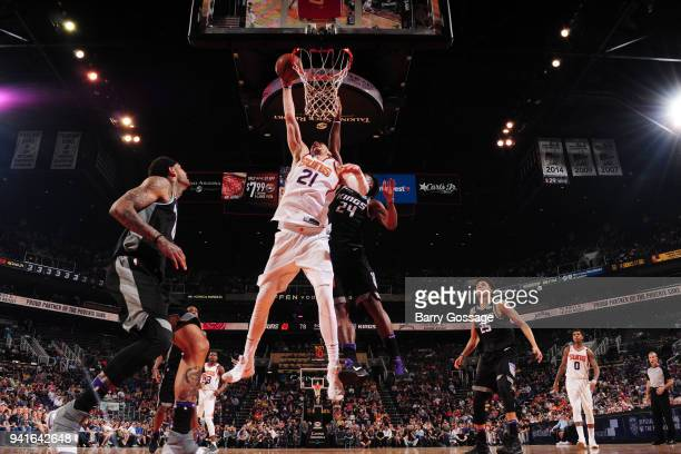 Alex Len of the Phoenix Suns dunks the ball during the game against the Sacramento Kings APRIL 3 2018 at Talking Stick Resort Arena in Phoenix...