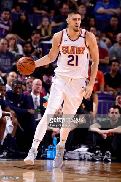 Alex Len of the Phoenix Suns handles the ball against the Utah Jazz on October 25 2017 at Talking Stick Resort Arena in Phoenix Arizona NOTE TO USER...