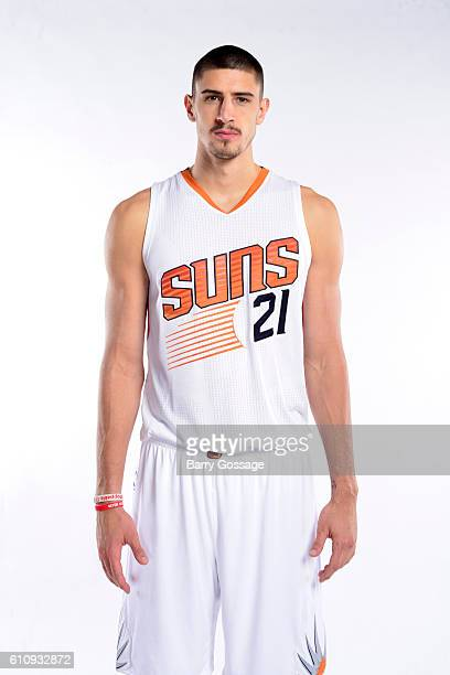 Alex Len of the Phoenix Suns poses for a portrait at the 20162017 team media day on September 26 at Talking Stick Resort Arena in Phoenix Arizona...