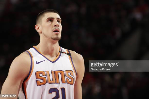 Alex Len of the Phoenix Suns shoots a free throw during the game against the Portland Trail Blazers on January 16 2018 at the Moda Center in Portland...