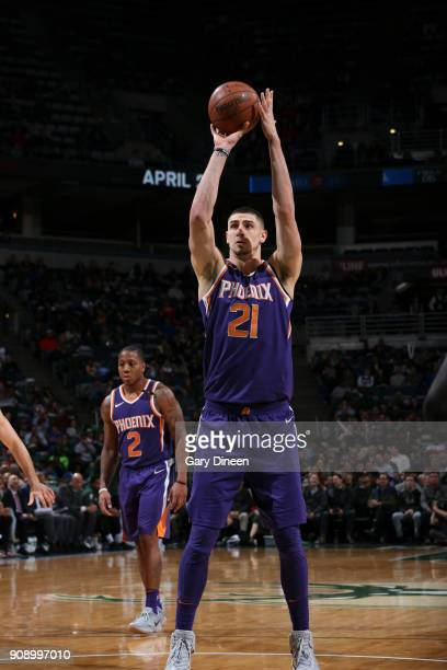Alex Len of the Phoenix Suns shoots the ball against the Milwaukee Bucks on January 22 2018 at the BMO Harris Bradley Center in Milwaukee Wisconsin...