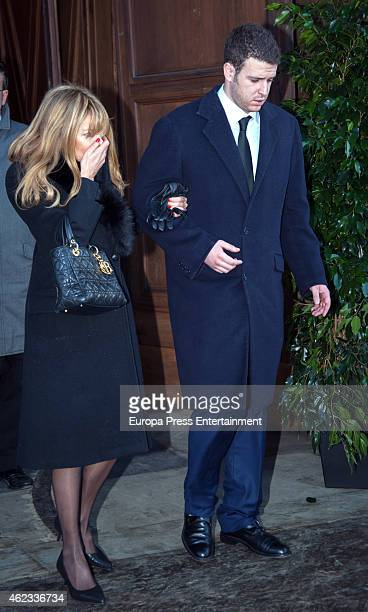 Alex Lequio and Ana Obregon attend the funeral service for Princess Sandra Torlonia grand daughter of King Alfonso XIII of Spain on January 08 2015...