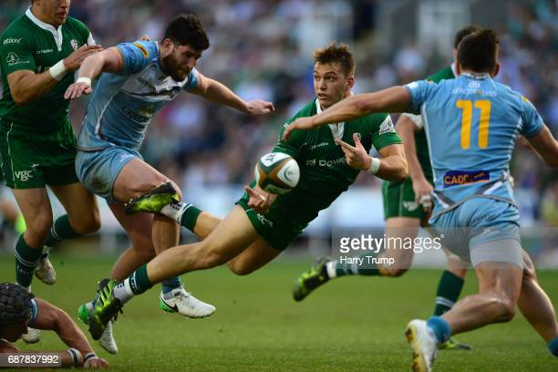 Alex Lewington of London Irish attempts a pass during the Greene King IPA Championship Final Second Leg match between London Irish and Yorkshire...
