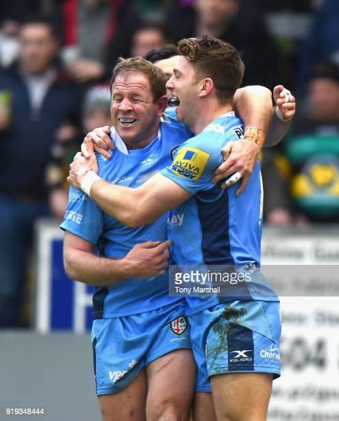 Alex Lewington of London Irish celebrates scoring his second try during the Aviva Premiership match between Northampton Saints and London Irish at...